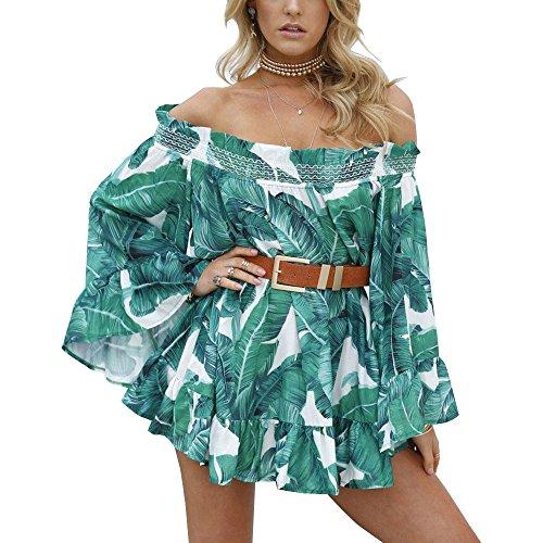 Leaf Print Dress (Ebetterr Women's Leaf Print Bell Sleeve Off Shoulder Strapless Ruffle Mini Dress Green Small)