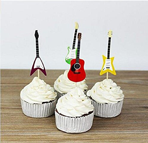 Wendin Set of 24 Guitar Cake Cupcake Decorative Cupcake Topper for Kids Birthday Party Themed Party Baby Shower