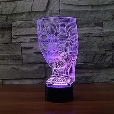 BFMBCHDJ Mascarilla 3D Lámpara 7 Color Led Lámparas de noche para ...