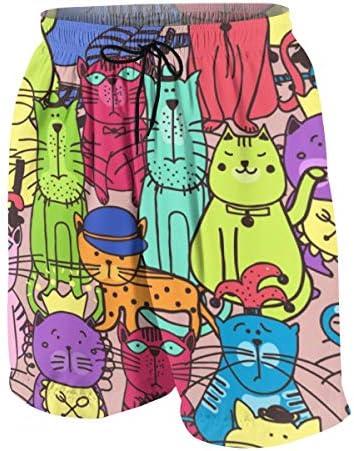 キッズ ビーチパンツ 落書き猫柄 サーフパンツ 海パン 水着 海水パンツ ショートパンツ サーフトランクス スポーツパンツ ジュニア 半ズボン ファッション 人気 おしゃれ 子供 青少年 ボーイズ 水陸両用