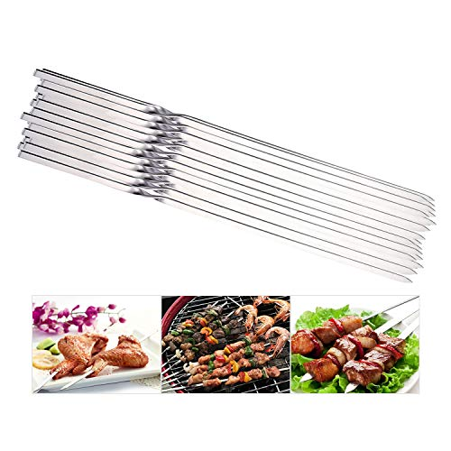 REDCAMP Flat Barbeque BBQ Skewers Stainless Steel, Set of 20, 14.5