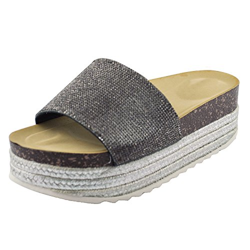 l Casual Beach Espadrille Slip On Summer Slides GG11 Black 7 (Espadrille Slides Sandals Shoes)