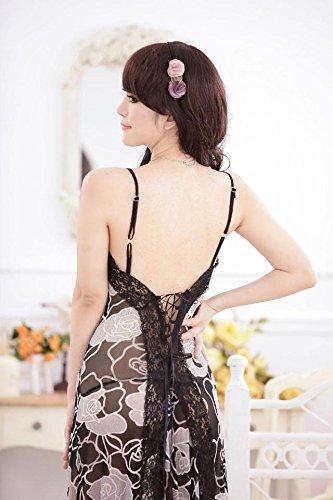 ZHFC-Señoras lingerie correas vestido estampado vestido tentación perspectiva F