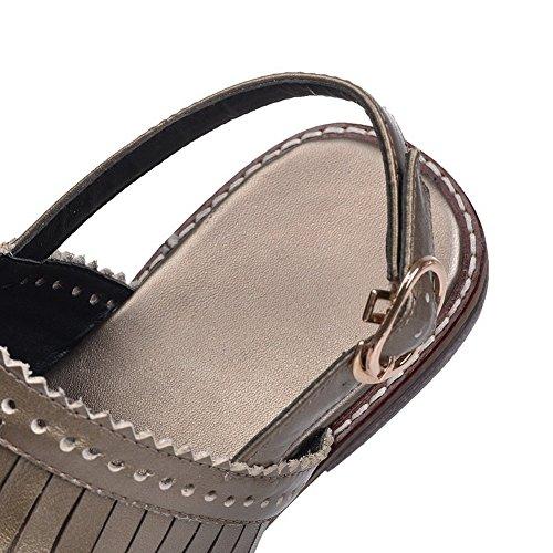 Amoonyfashion Vrouwen Gesp Open Teen Lage Hakken Lederen Handgemaakte Solide Sandalen Goud