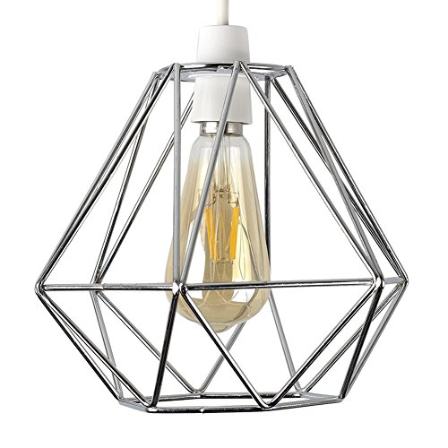 - Vintage Pendant Light, Motent Industrial Modern Minimalist Diamond Shaped Cage Hanging Lamp. Creative Iron Wrought 1-Light DIY Lighting Fixture with No Bulb, 7.8
