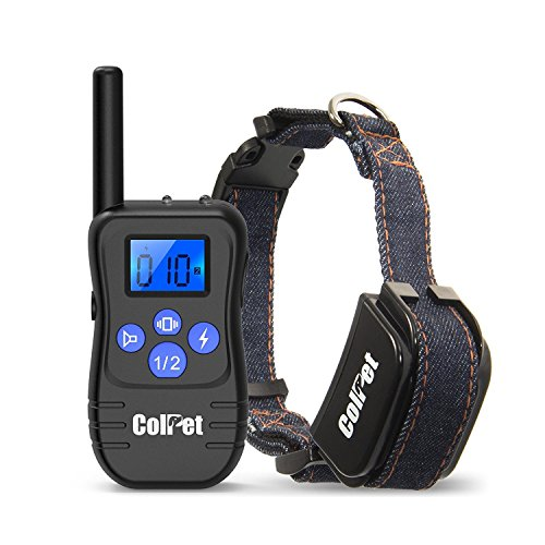 ColPet Dog Training Collar for Dogs 330yd Remote Dog Collar with Beep/Vibration/Shock Electric Collar for All Size Dogs, Black