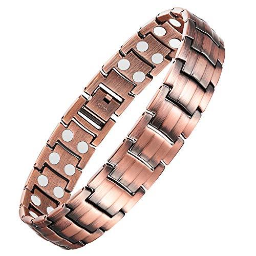 Feraco Double Strong Magnetic Copper Bracelet for Men Arthritis Pain Relief Health 99.99% Solid Copper Bracelets