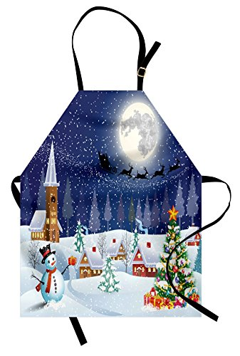 - Ambesonne Christmas Apron, Winter Season Snowman Xmas Tree Santa Sleigh Moon Present Boxes Snow and Stars, Unisex Kitchen Bib with Adjustable Neck for Cooking Gardening, Adult Size, Blue Red