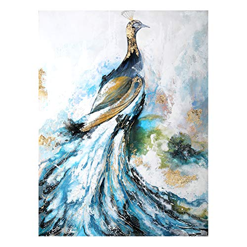 Sanma Art Hand Painted Oil Painting On Canvas with Wood Frame, Original Design Oil Painting About Peacock for Dining Room Wall Decoration Artwork (24x36 inch)