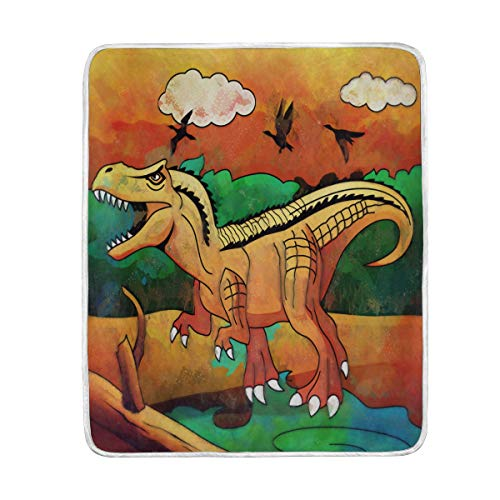 ZZKKO Forest Animal Dinosaur Blanket Throw Warmer for Kids Baby Boy Girl Home Decorative Couch Soft Bed Living Room Nap Mat Outdoor Travel
