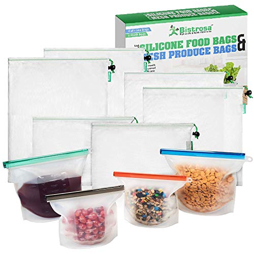 Reusable Silicone Food Bags (4) With Mesh Produce Bags (6) | Eco Friendly Food Storage | Refrigerator, Freezer & Dishwasher Safe | | Airtight, Washable | Snack, Sandwich, Lunch, Leftovers, Vegetables
