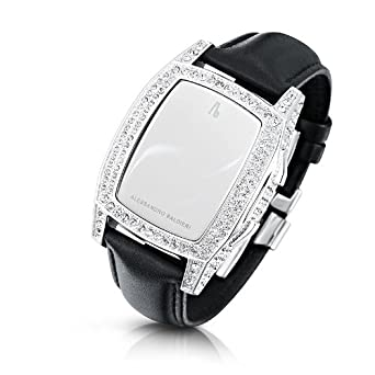 Alessandro Baldieri Damen-Armbanduhr End of Time Swarovski Clear-Black Digital Leder schwarz AB0041SW-CLR-BLA