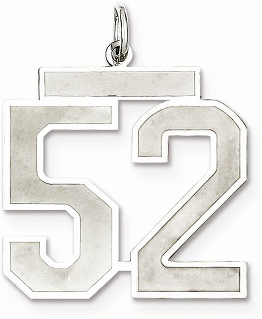 925 Sterling Silver//Number 52 Pendant Charm Necklace Charms Laser Etched Fine Jewelry For Women Gifts For Her