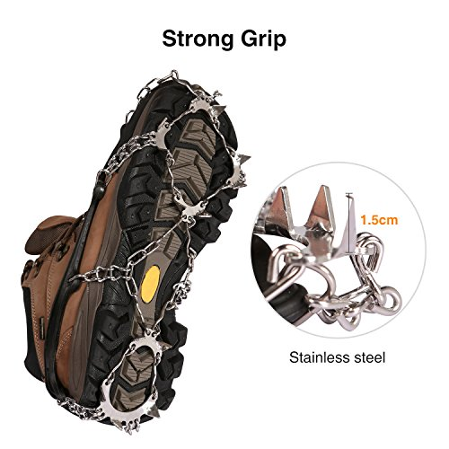 REDCAMP Footwear Traction Cleats,13 Teeth Ice Snow Grips Crampons for Hiking Climbing,Black 1 pair