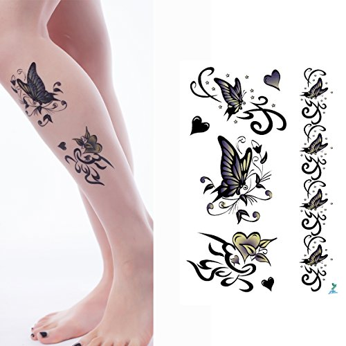Yeeech Temporary Tattoos for Women Butterfly Designs Large Waterproof Leg Realistic Sexy Body Art Makeup