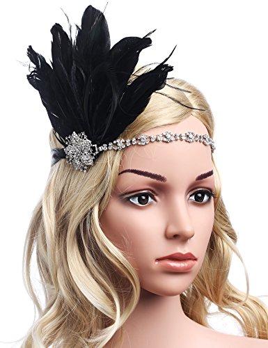 [Babeyond Women's Stunning Party Prom Vintage 1920s Gatsby Headpiece Black Feather Headdress Flapper Headband] (Dress 1920s)