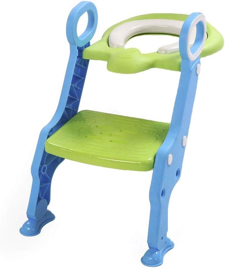 Orinal Con Escalera | Pasos Anchos Y Manijas | Cómodo Y Seguro | Ajustable | Material Ecológico De PP, No Tóxico, Inocuo | Lavable | Plegable Para | Ahorro De Espacio | 41x63cm (color : Azul): Amazon.es: Bebé