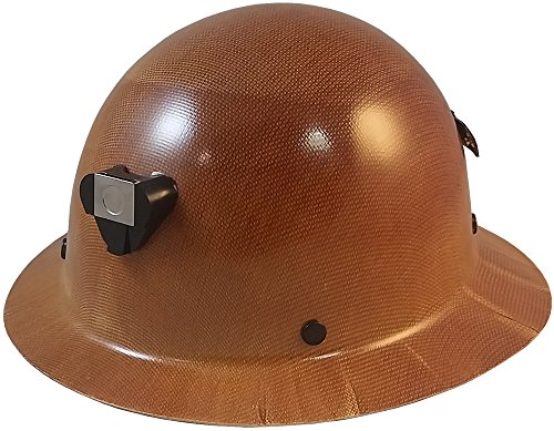 Texas America Safety Company MSA Skullgard Hard Hat with Lamp Bracket, Cord Holder, and FasTrac III Ratchet Suspension, Original Tan Color - Full Brim