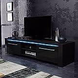 Messa – TV-Lowboard/Fernsehschrank / Fernsehtisch mit 2 Schränkchen und 2 offenen Fächern (140 cm, in Schwarz mit LED-Beleuchtung)