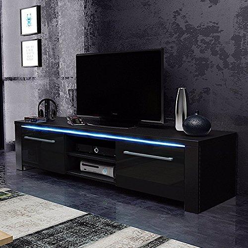 Messa – TV-Niedrigboard Fernsehschrank   Fernsehtisch mit 2 Schränkchen und 2 offenen Fächern (140 cm, in Schwarz mit LED-Beleuchtung)