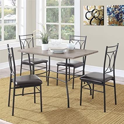 5 Piece Dining Set, 4 Faux Leather Upholstered Chairs, Rustic Table With  Wood Top