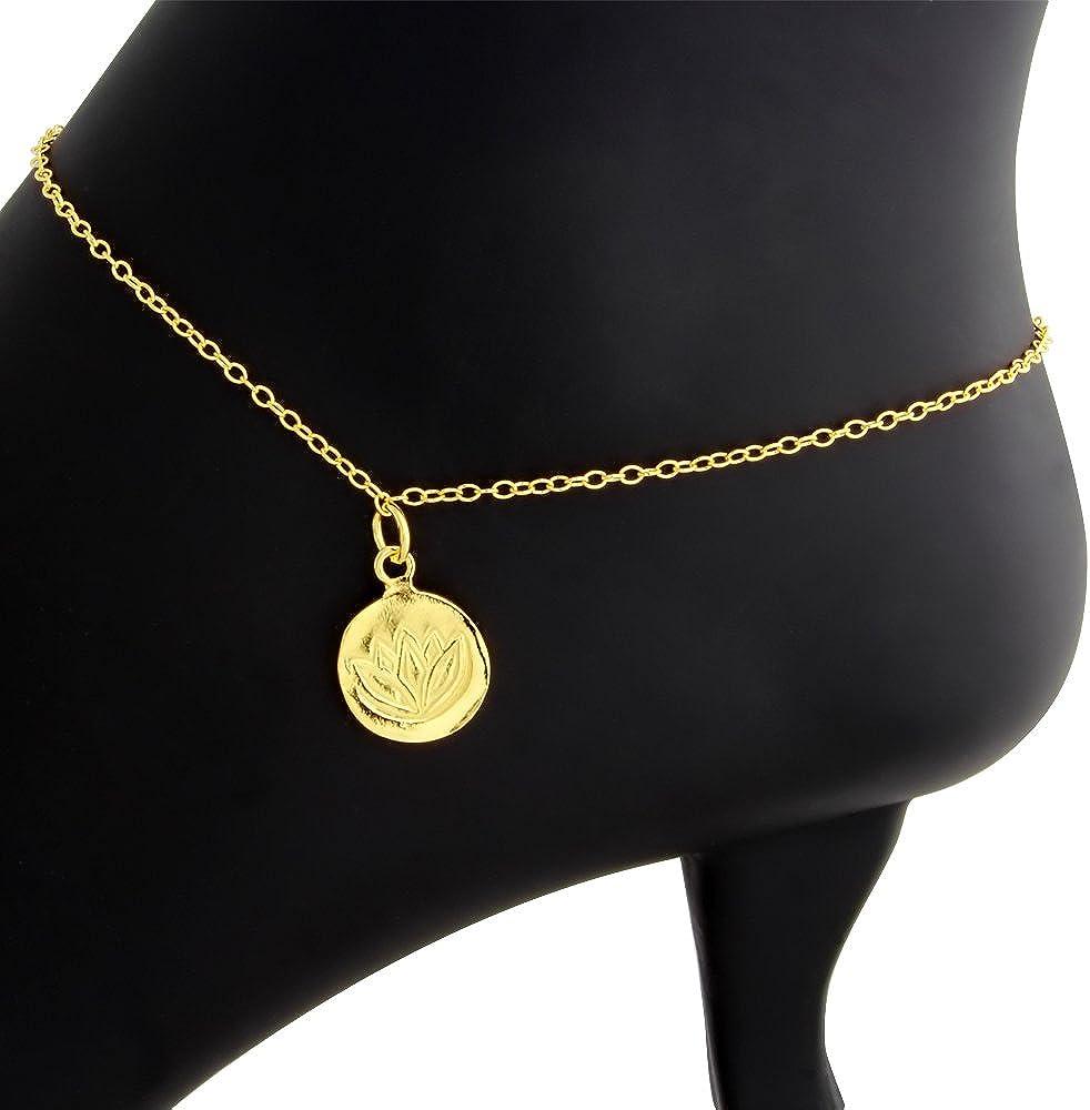 Azaggi 925 Sterling Silver Lotus Anklet Gold Plated Anklet Lotus Spirit Wisdom Awakening Mystic Ankle Flower Bracelet Medallion Pendant Chain Foot Jewelry Gift for Women Girls