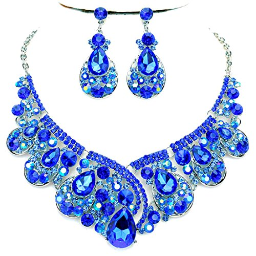(Blue Ab Rhinestone Crystal Statement Silver Chain Necklace Earrings Set Wedding Bridal Pageant Jewelry)