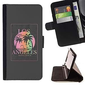 BullDog Case - FOR/Samsung Galaxy S3 III I9300 / - / los Angeles grey poster palm tree sun /- Monedero de cuero de la PU Llevar cubierta de la caja con el ID Credit Card Slots Flip funda de cuer