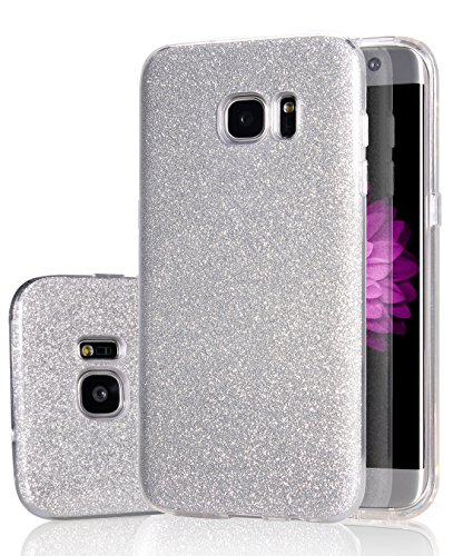 Galaxy S7 Edge Case, Crosspace Samsung S7 Edge Bling Cases Ultra Slim Sparkle 3 Layer Hybrid Protective Shiny Shell Lightweight Exact Fit Soft TPU Cover for Samsung Galaxy S7 Edge -Silver (Countdown Exact To Christmas)