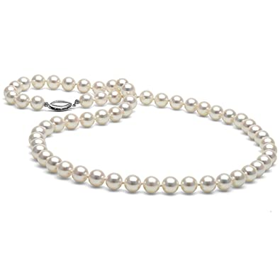 8ddfafca346 14K Cultured White Japanese Saltwater Akoya Pearl Necklace, 18-Inches, AAA  Quality