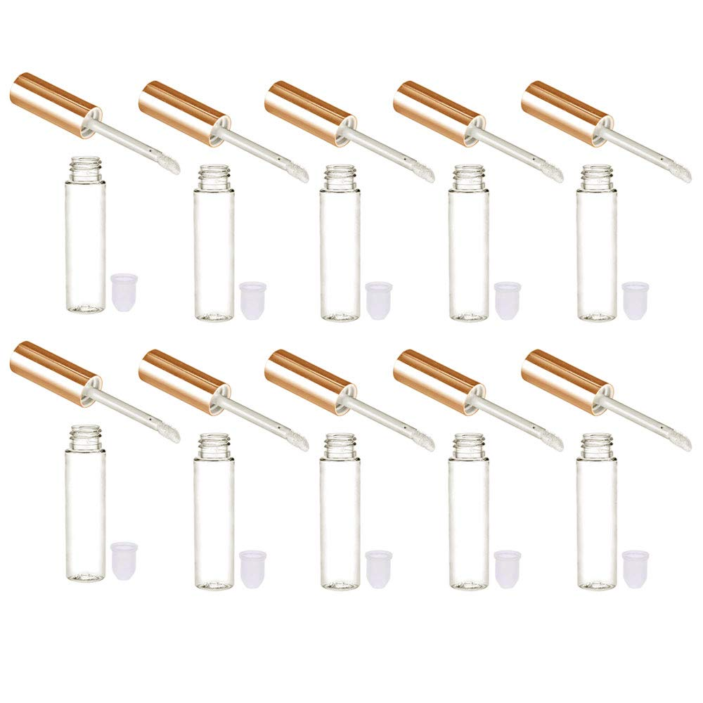 5.9 ml Silver// Clear Lip Gloss PET container TUBES w// applicator wand 100 SETS