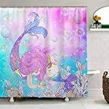 Fabric Shower Curtains with Fish ZOEO Girls Mermaid Shower Curtain Unicorn Cat Fish Fabric Waterproof Large Window Bathroom Tub Curtains Sets Mermaid Home Decor 12 Hooks 72x72 inch