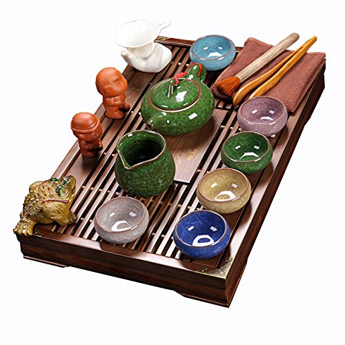 ufengke Exquisite Oriental Ceramic Porcelain Kung Fu Tea Cup Set With Wooden Tea Tray, Chinese Tea Service, Home And Office Use, Multicolor