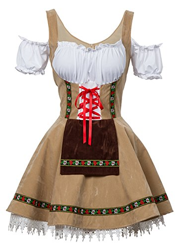 Coswe Women's German Dirndl Dress Off Shoulder Oktoberfest Beer Girl Costume ()