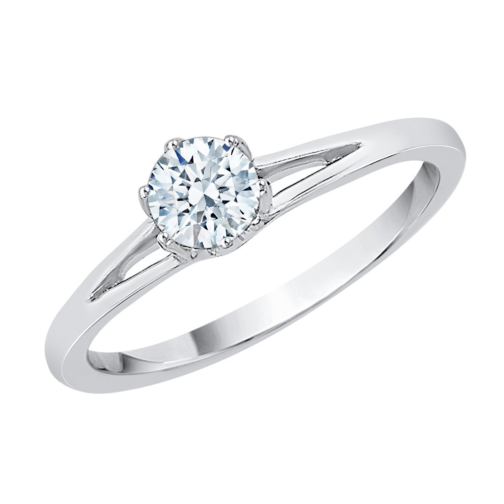 Diamond Solitaire Promise Ring in Sterling Silver (1/4 cttw) (I-Color, SI3-I1 Clarity) (Size-12.5)