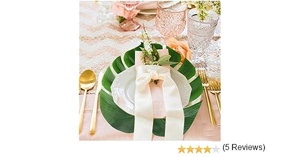 awtlife Falda de mesa hawaiana Luau con 24 piezas Hojas de palma ...