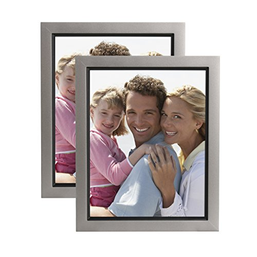 DesignOvation Muse 8x10 Wood Picture Frame, Pewter and Black, Pack of 2 (Pewter Photo)