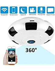 360 Degree Night Vision Fisheye Panoramic Ip Camera 2 Megapixel 1080P Wireless WiFi Indoor Security Surveillance Camera Support IR Night Motion Detection Keep Your Home Safe JU-V380-200