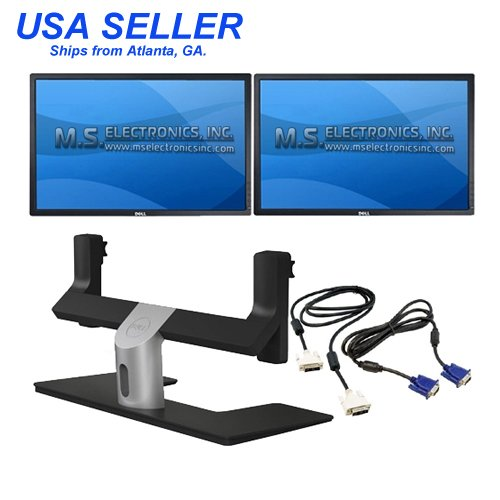 Two Dell UltraSharp 24-inch Widescreen Monitors with Dell MDS14 Dual Monitor Stand