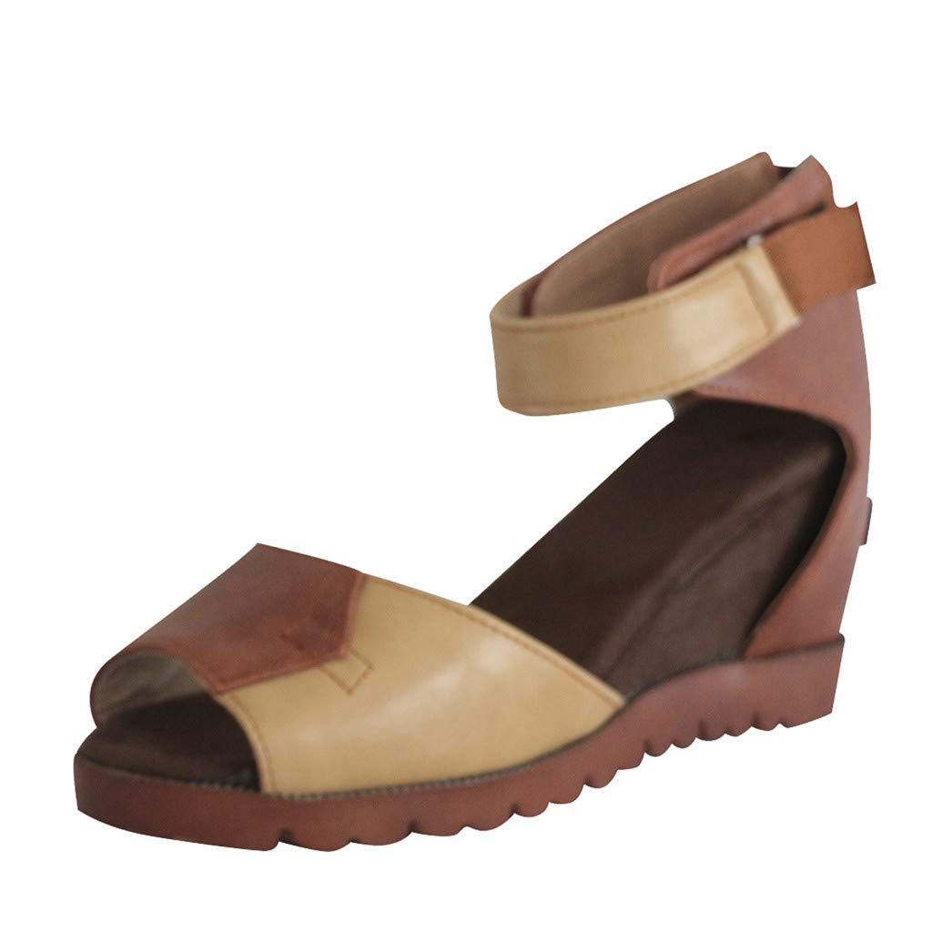 Women's Fashion Wedges Sandals Open Toe Thick Bottom Straps Buckle Shoes Roman Sandals US: 5-9 (Brown, US:7.5-Foot Length:9.8'')