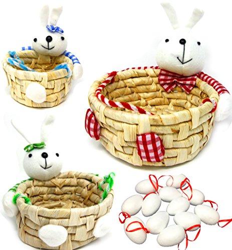 Joyin Toy 3 Pack Bunny Shape Basket with 12 White Blank Foam Eggs