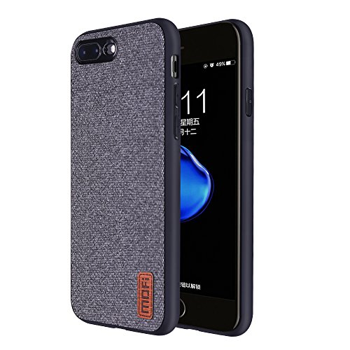 iPhone7Plus /8Plus Cases Covers,Full TPU Soft Edges,with Art Cloth & Full-Edge Protection Shock- Absorbing & Great Grip Fully Compatibale for iPhone7Plus/8Plus(Gray)