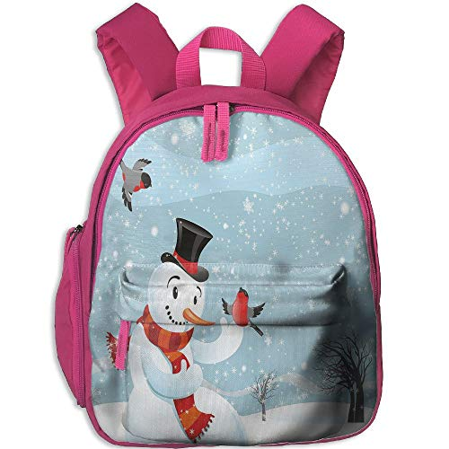 Haixia Youth Boys&Girls Bookbag with Pocket Snowman Snowfall Festive New Years Eve Celebration Theme Xmas Figure with Bullfinch Birds Decorative
