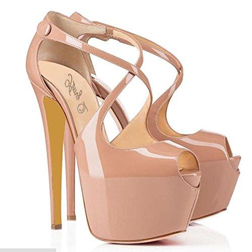 L@YC Mujeres Damas TacóN alto TacóN apenas allí Doble Correa Hebilla Sandalias Zapatos De Fiesta TamañO apricot