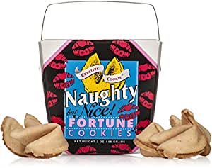 Naughty But Nice Fortune Cookies In A Gift Box – 8 Pieces Traditional Vanilla Flavor Individually Wrapped – Anniversary or Valentines Day Gift - Kosher Certified