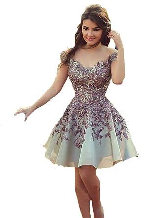 92b88c16354 Dislax Off Shoulder Lace Appliques Chiffon Short Homecoming Dresses  Cocktail Gowns Purple US 2