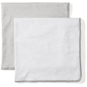 Moon and Back Baby Set of 2 Organic Swaddle Blankets, Grey Heather, One Size