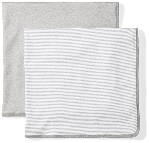 Moon and Back Baby Set of 2 Organic Swaddle Blankets, Grey Heather, One (Receiving Blanket Set)