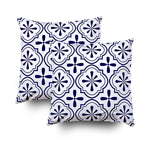 ROOLAYS Decorative Throw Square Pillow Case Cover 20X20Inch,Cotton Cushion Covers ceramic tile pattern Porcelain background Both Sides Printing Invisible Zipper Home Sofa Decor Sets 2 PCS Pillowcase