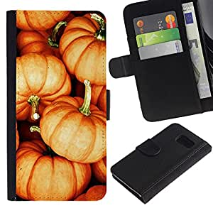 Billetera de Cuero Caso Titular de la tarjeta Carcasa Funda para Samsung Galaxy S6 SM-G920 / pumpkin Halloween orange fall autumn / STRONG